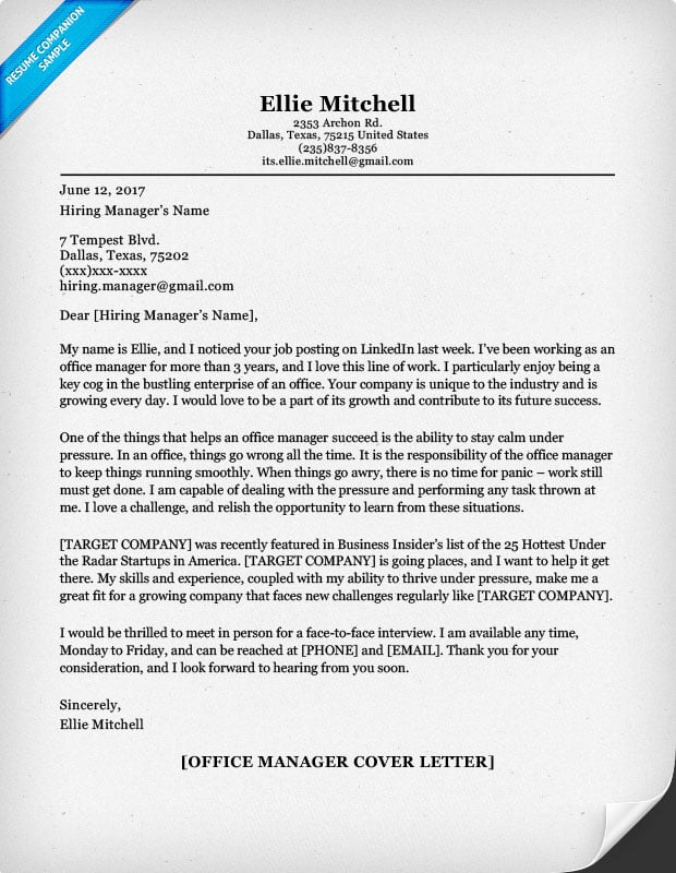 Office Manager Cover Letter. Office Manager Resume Sample. Office Manager  Resume