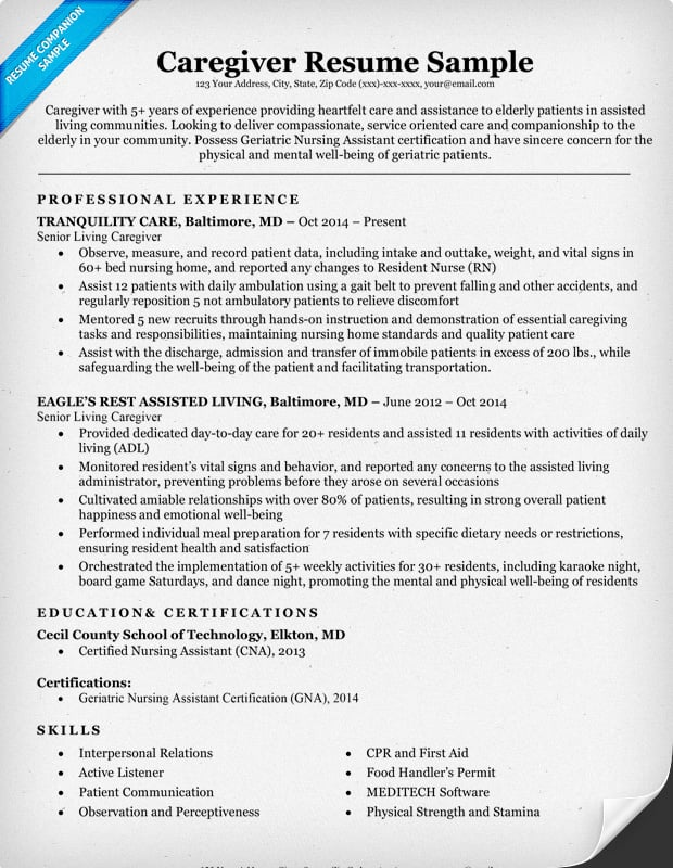 Caregiver Resume Sample  Resume For Caregiver
