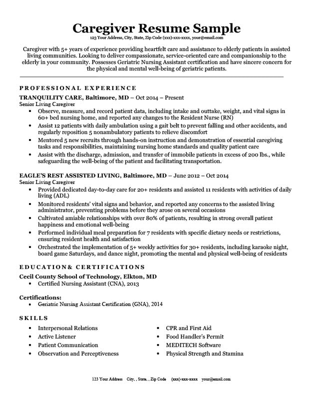 caregiver resume sample amp writing tips resume companion