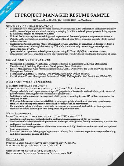 project manager resume sample - Resume Sample For Project Manager
