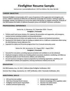firefighter resume example download