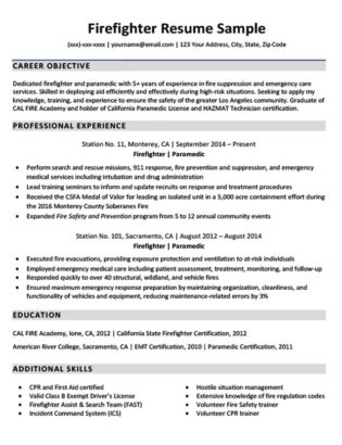 firefighter resume sample download