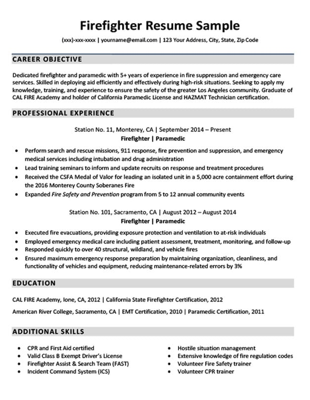 Downloadable Firefighter Resume Sample Companion Wildland Examples