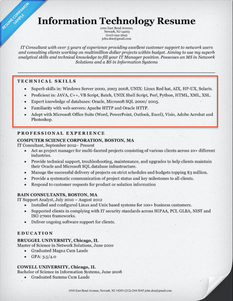 Information Technology Resume Technical Skills Example  Resume Sample Skills