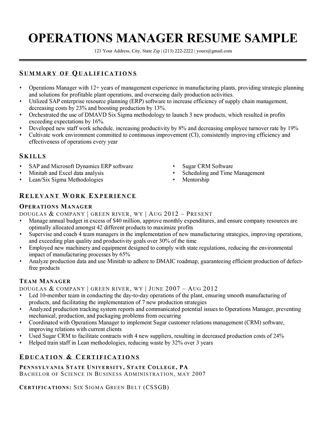 Operations Manager Resume Sample Writing Tips Rc