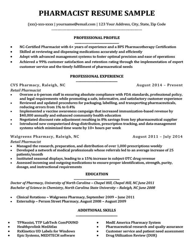 Pharmacist Resume Sample Amp Writing Tips Resume Companion
