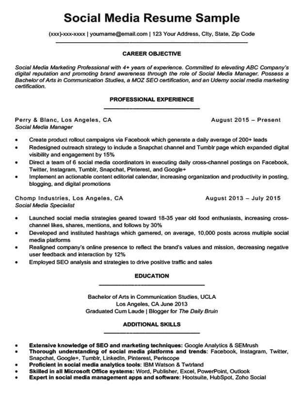 social media resume sample download