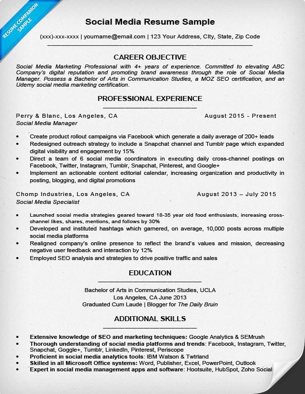 Social Media Resume Sample  Resume Social Media
