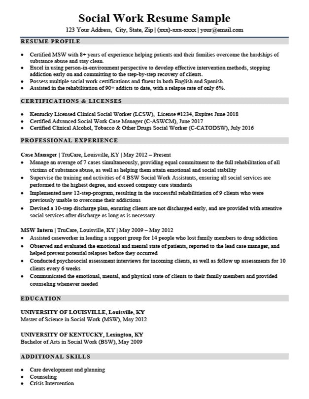 Social Work Resume Sample & Writing Tips | Resume Companion