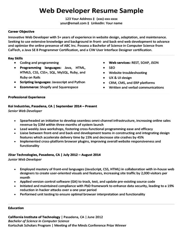 Web Developer Resume Sample & Writing Tips | Resume Companion