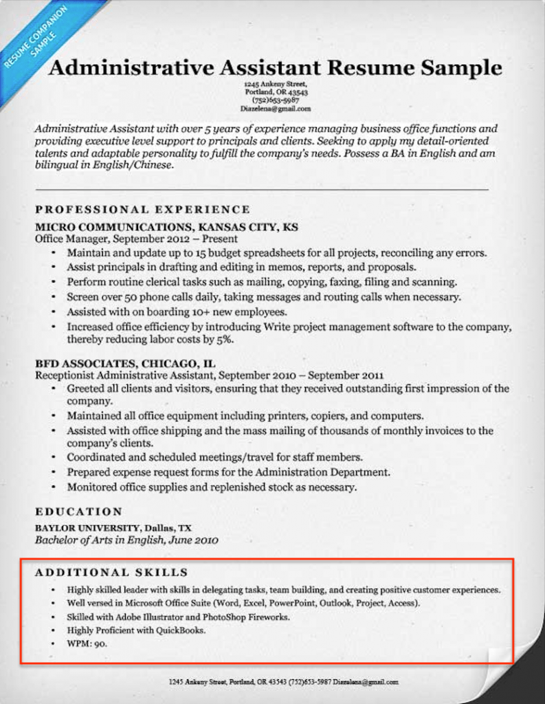 administrative assistant resume skills section example - Skills Section Of Resume
