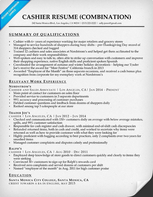 cashier resume with qualifications summary