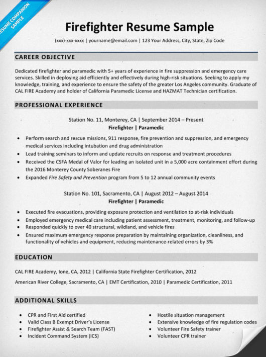 firefighter resume sample writing tips resume companion