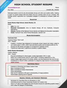high school resume skills section example