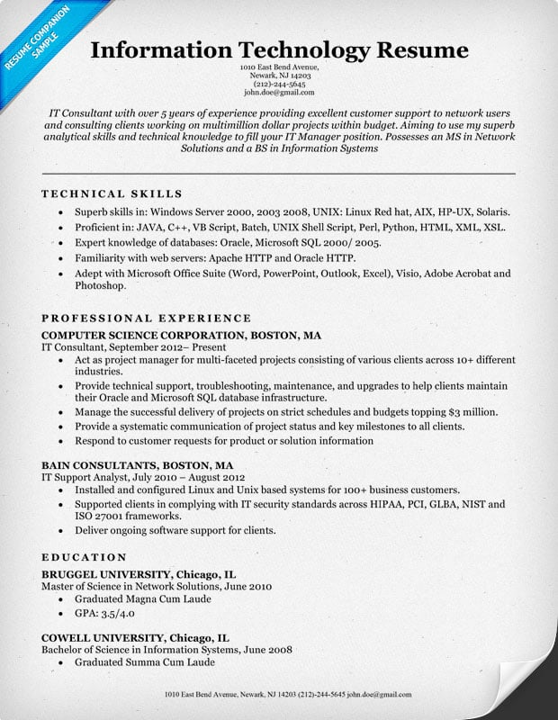 Superb Information Technology (IT) Resume Sample Pertaining To It Resume Example