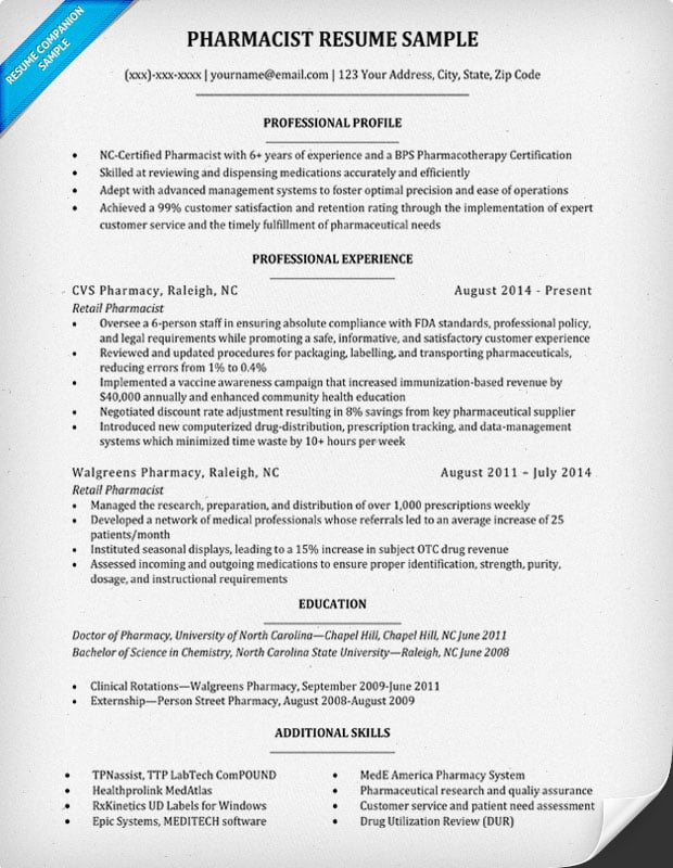 pharmacy resume sample best pharmacist resume example livecareer 2