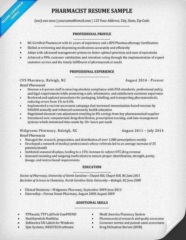 best resume format pharmacist