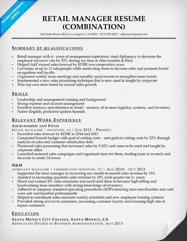 retail manager resume with qualifications summary - Sample Resume For Manager