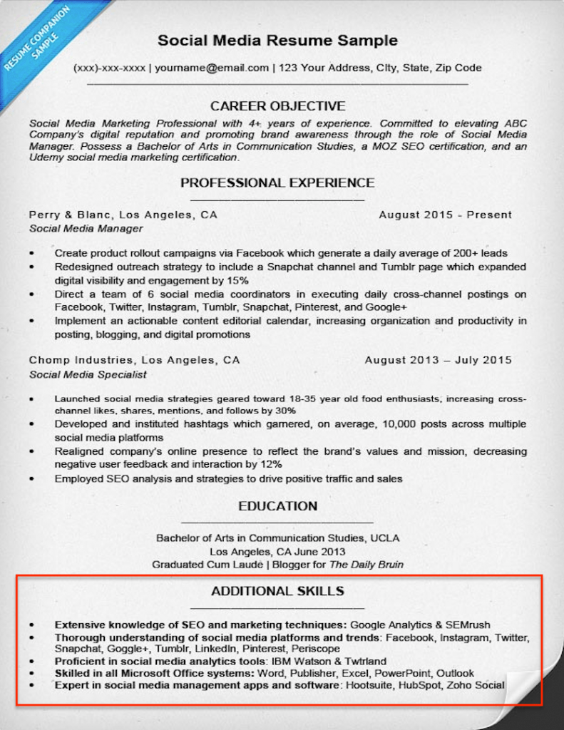 Social Media Resume Skills Section Example  Sample Skills Resume
