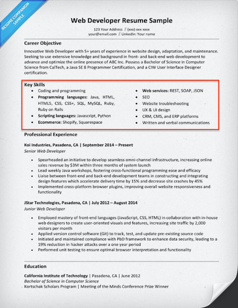 web developer resume skills section example - Skills Section Of Resume
