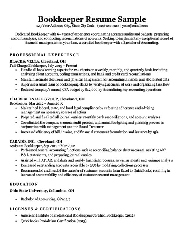 Bookkeeper Resume Sample Writing Tips Resume Companion