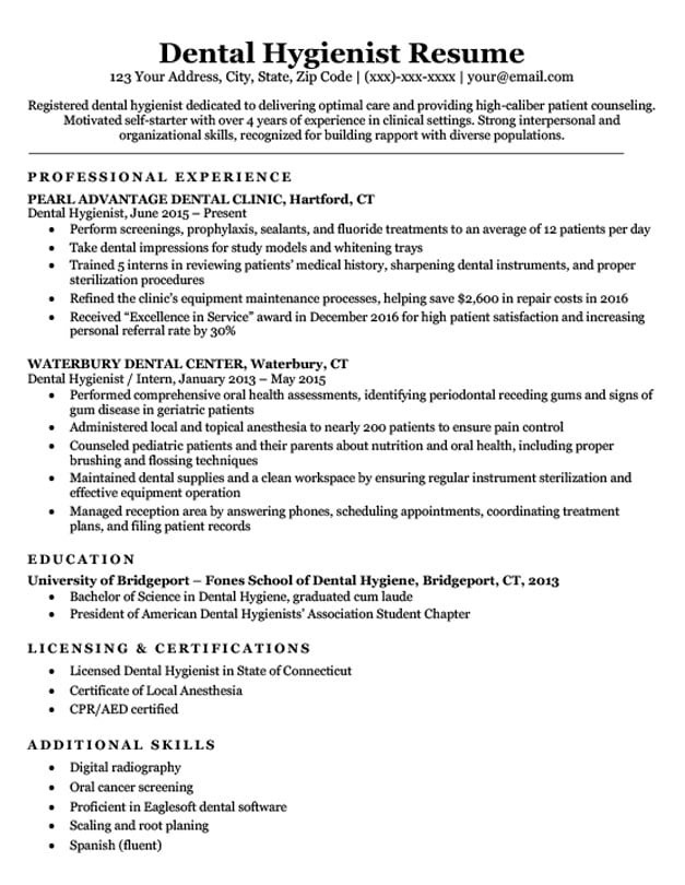 Dental Hygienist Resume Sample Writing Tips Companion
