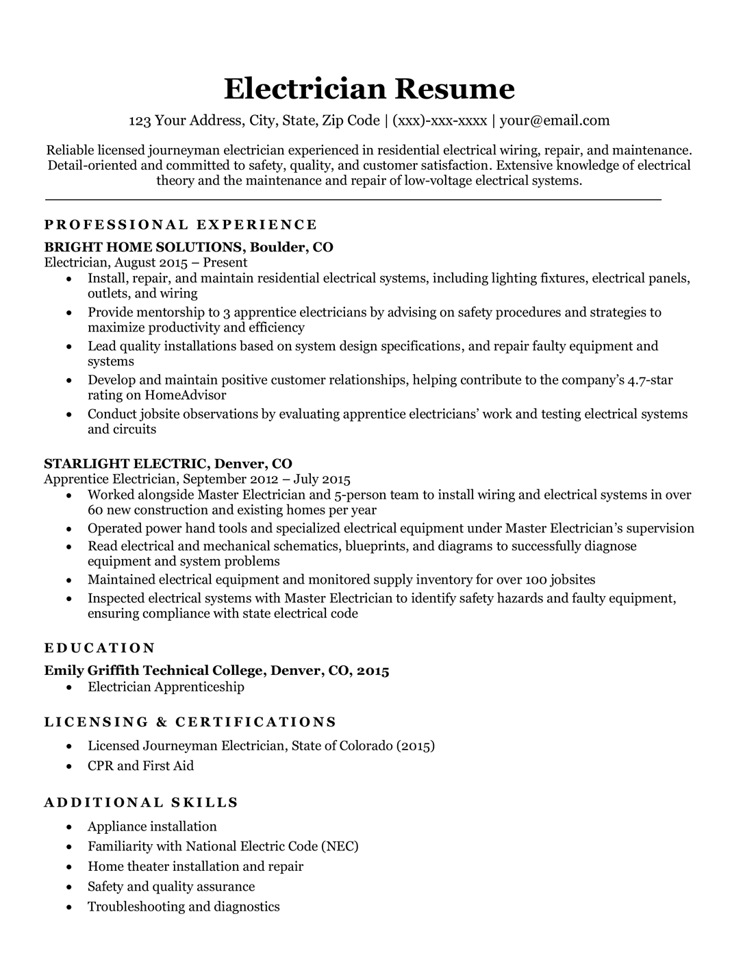Electrician resume sample
