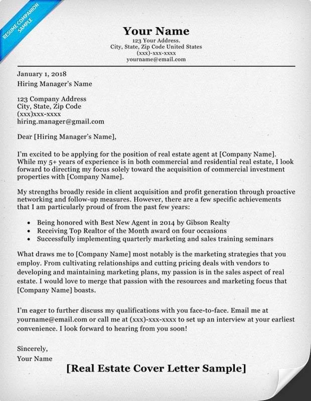 Real Estate Cover Letter Sample  Real Estate Resume Sample