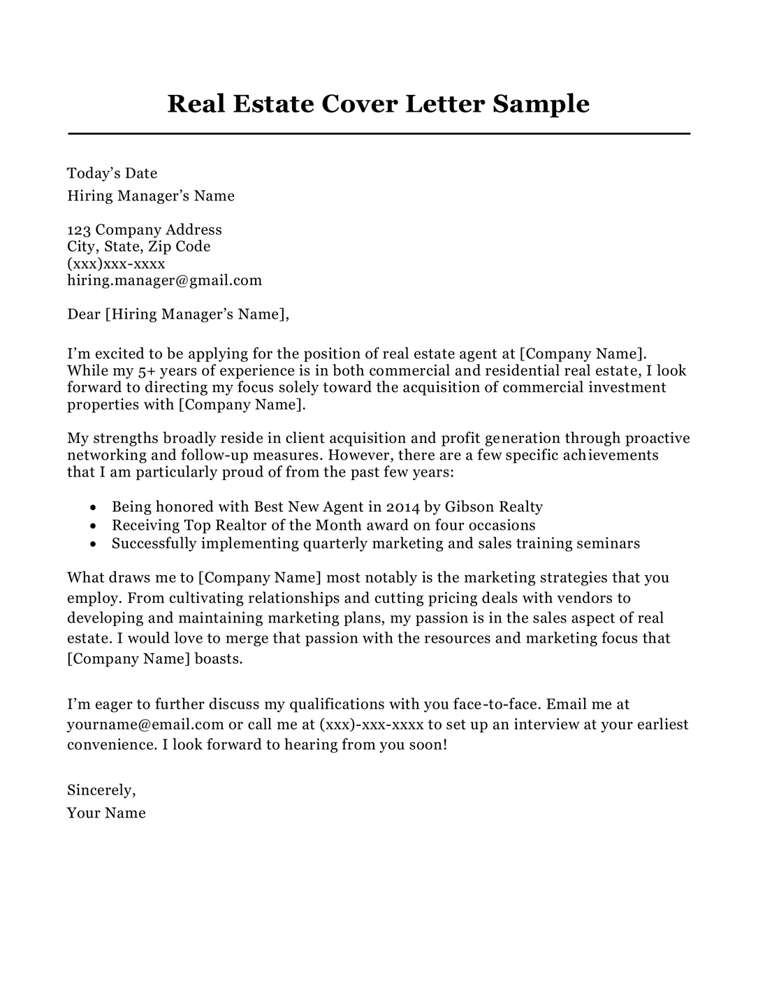 Real estate agent cover letter sample