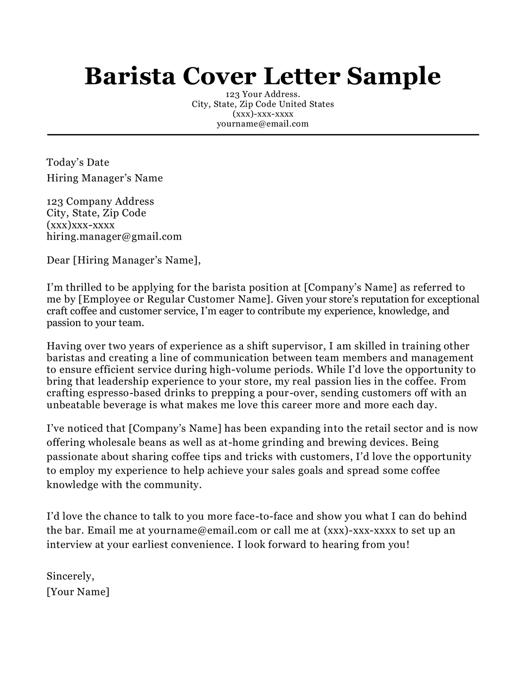 Barista Cover Letter Sample Writing Tips Resumecompanion