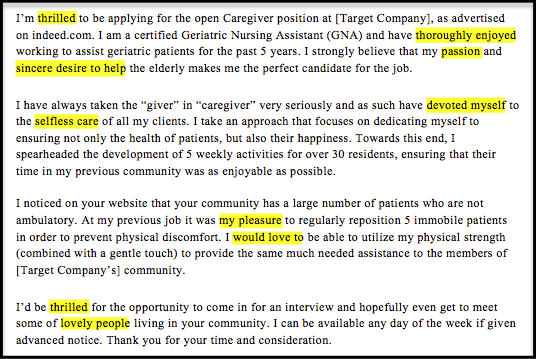 example of caregiver expressing enthusiasm in cover letter