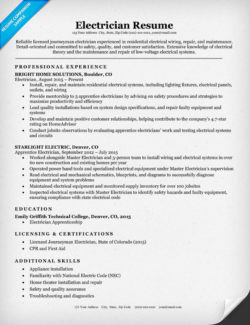 Electrician Resume Sample  Maintenance Worker Resume