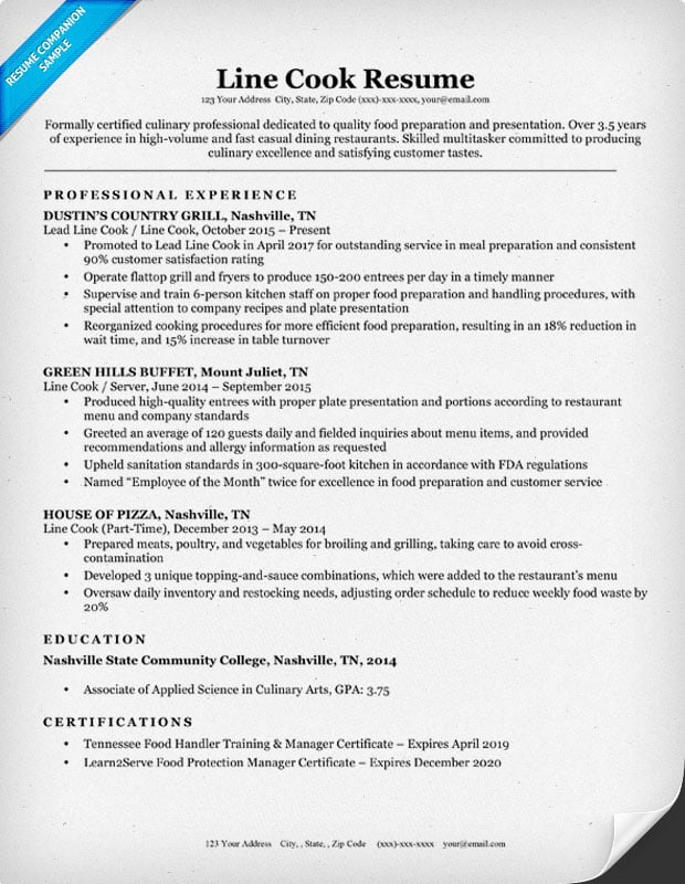 line cook resume sample - Cook Resume Examples