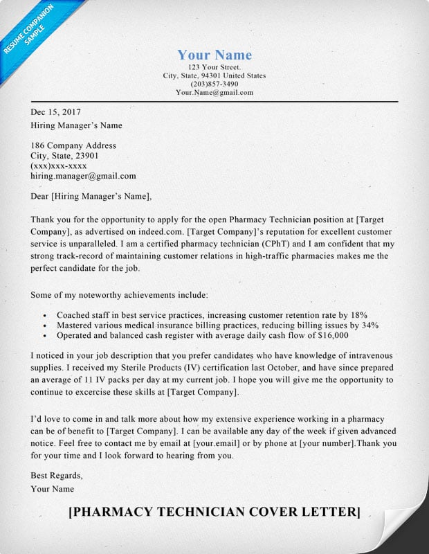 pharmacy technician cover letter Pharmacy tech job cover letter tips and if the applicant has received or is in the process of receiving their certified pharmacy technician (cpht.