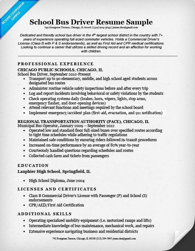 school bus driver resume sample  u0026 writing tips