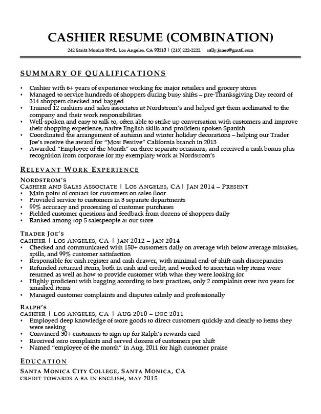 Cashier Summary Of Qualifications