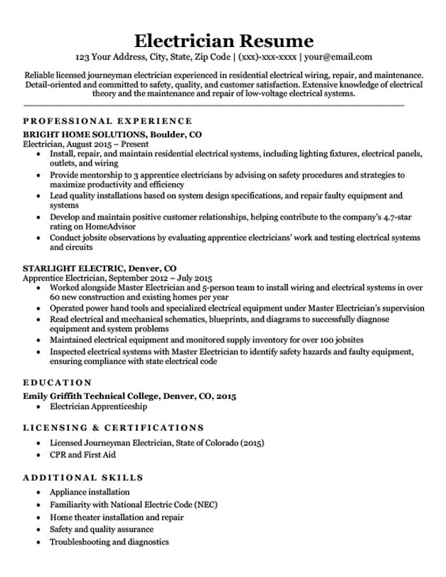 electrician resume sample download