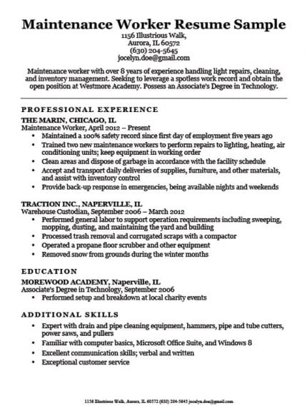 Janitor Resume Sample Resume Companion