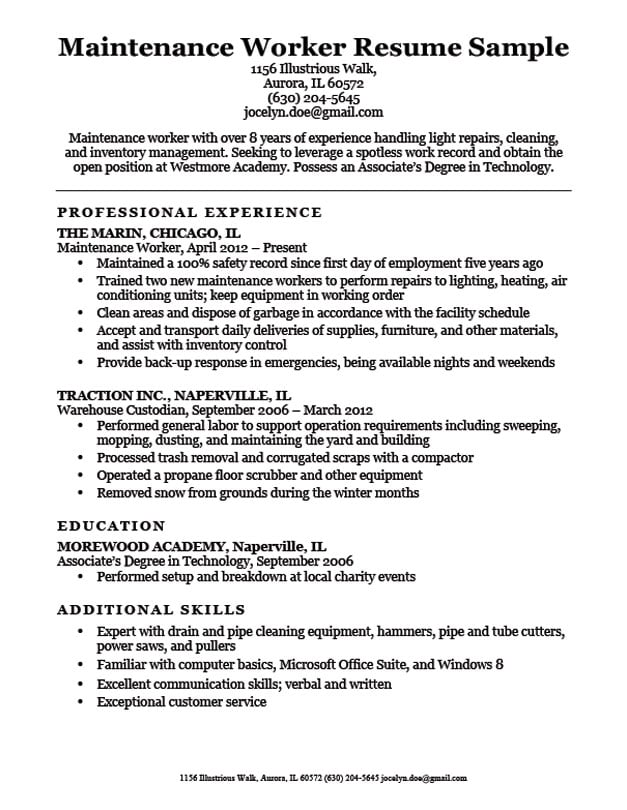 Maintenance Worker Resume Sample | Resume Companion