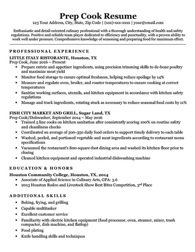Food prep resume example