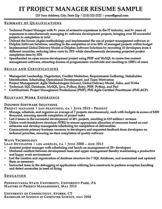 project manager resume sample writing tips resume companion
