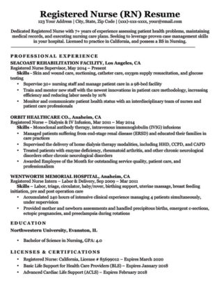 registered nurse (RN) resume sample download