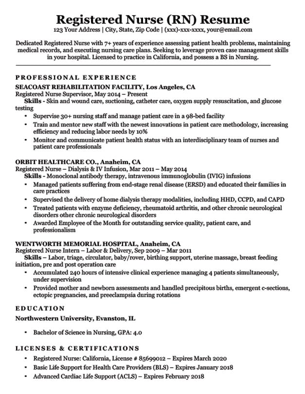 Example Professional RN Resume 2019