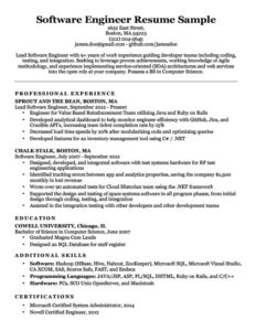 Software Engineer Resume Example Download