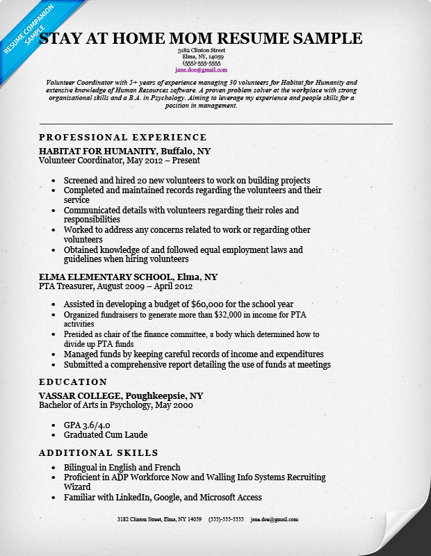 stay at home mom resume w continuous work experience - Resume Examples Work Experience