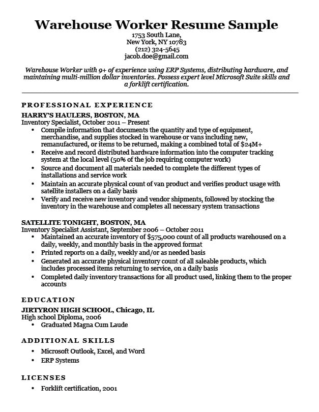 Warehouse Worker Resume Sample Download