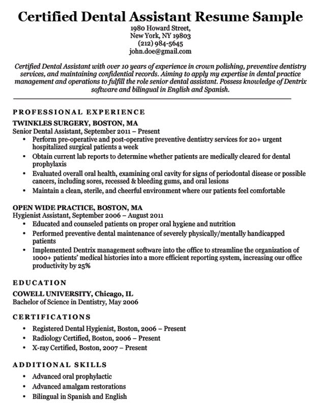 dental resume examples  u0026 writing tips