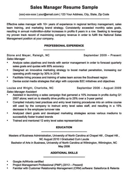 sales manager resume sample download