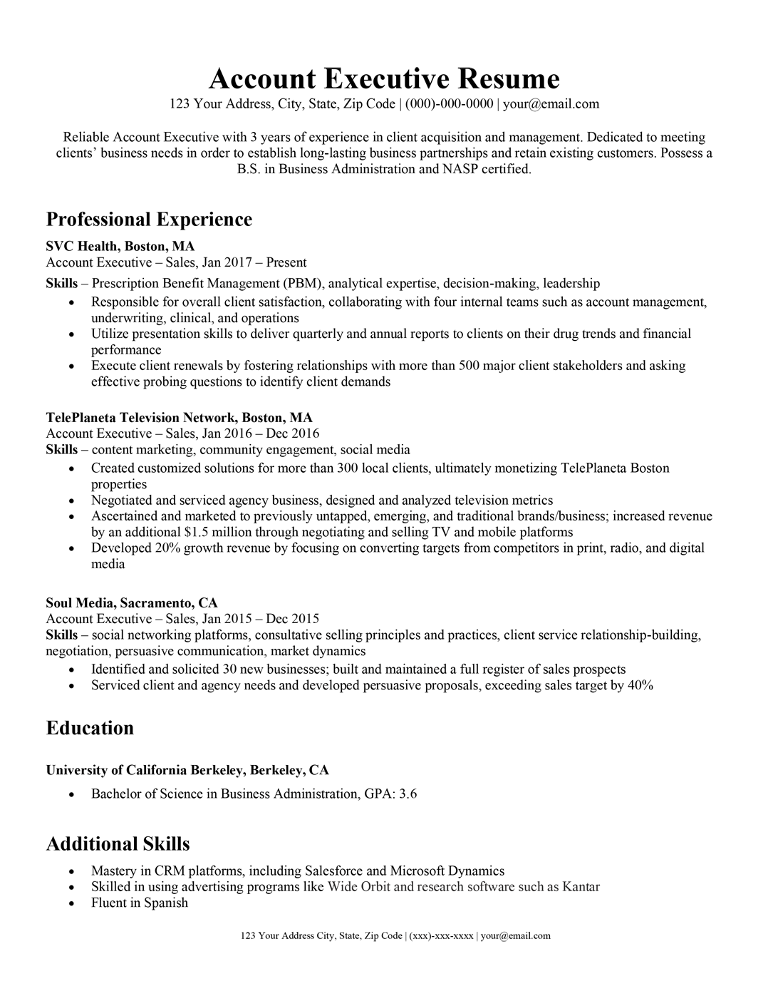 Account Executive Resume Writing Tips Resume Companion