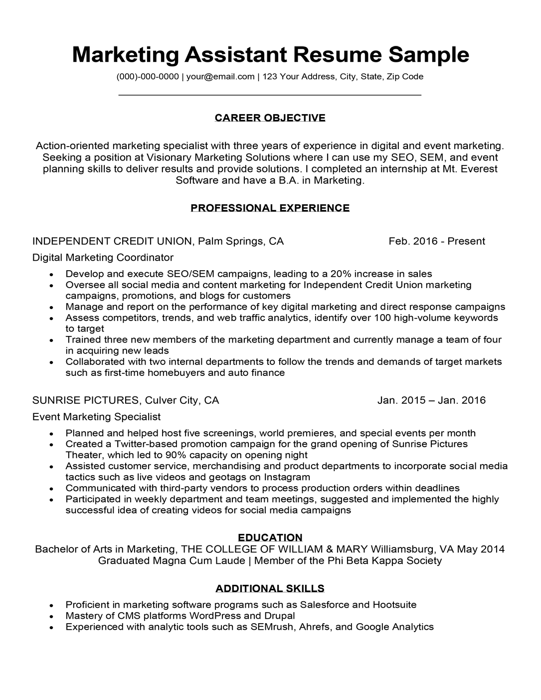 marketing assistant resume sample  u0026 tips